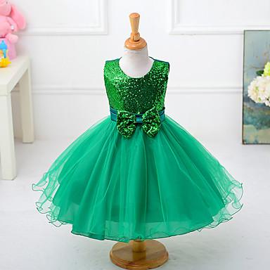 Χαμηλού Κόστους Φορέματα για κορίτσια-Παιδιά Κοριτσίστικα Φιόγκος Μονόχρωμο Αμάνικο Πολυεστέρας Φόρεμα Κόκκινο