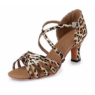 Mulheres Sapatos de Dança Latina Cetim Salto Cadarço de Borracha Salto Robusto Não Personalizável Sapatos de Dança Leopardo / Interior