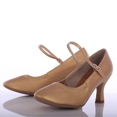 Women's Modern Shoes Leatherette Heel Customized Heel Customizable Dance Shoes Brown
