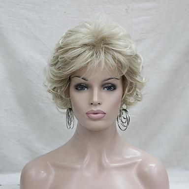 Недорогие Парик из искусственных волос без шапочки-Парики из искусственных волос Кудрявый Стиль С чёлкой Без шапочки-основы Парик Блондинка Блондинка Искусственные волосы Жен. Блондинка Парик Короткие Парик из натуральных волос