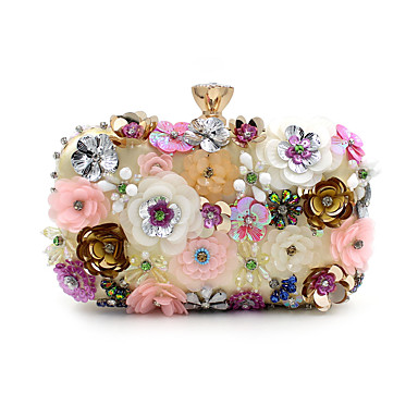cheap Bags-L.WEST® Women's Bags Polyester Evening Bag Imitation Pearl / Crystal / Rhinestone / Flower Floral Print Rainbow / Wedding Bags / Wedding Bags