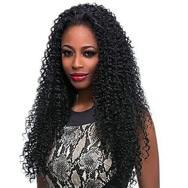 Buy Natural Black Color Human Hair Lace Wigs Kinky Curly 130% Density Brazilian Virgin Full Small Woman