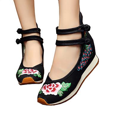 Dame Sko Lerret Vår / Sommer brodert sko / Original / Komfort Oxfords Gange Flat hæl Rund Tå Spenne / Blomst til Atletisk / utendørs