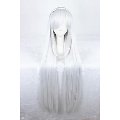 Syntetiske parykker / Kostymeparykker Rett Syntetisk hår Hvit Parykk Dame Lokkløs Sølv