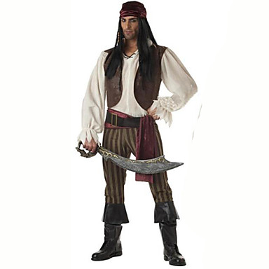 Pirata Fantasias de Cosplay Homens Carnaval Festival / Celebração Trajes da Noite das Bruxas Marron Sólido