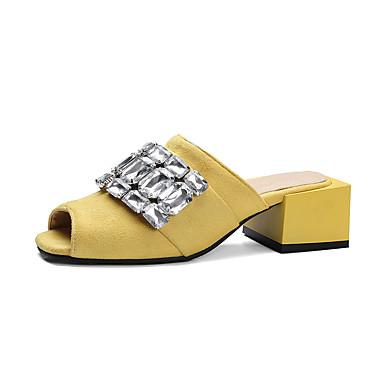 Women's Shoes Leatherette Summer Comfort Heels Chunky Heel Block Heel Peep Toe Rhinestone For Casual Black Yellow