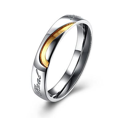 Páros Rozsdamentes acél Páros gyűrűk - Circle Shape Karika Arany / Fekete Gyűrű Kompatibilitás Parti / Iroda / Karrier / Napi