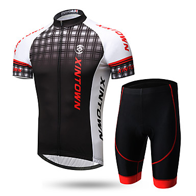 XINTOWN Men's Short Sleeve Cycling Jersey with Shorts - Black / Red 1# White+Gray Gradient Bike Clothing Suit Breathable Quick Dry Ultraviolet Resistant Back Pocket Sweat-wicking Sports Lycra Gradient