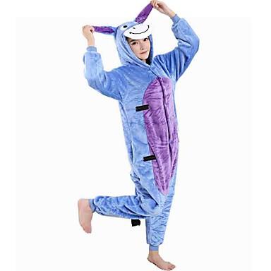 Crianças Adulto Pijamas Kigurumi Mula / Burro Pijamas Macacão Flanela Tosão Azul Cosplay Para Meninos e meninas Pijamas Animais desenho animado Festival / Celebração Fantasias