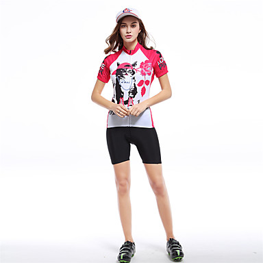 XINTOWN Women s Short Sleeve Cycling Jersey - Red   White Cat Plus Size Bike  Top Breathable 8397c3f12