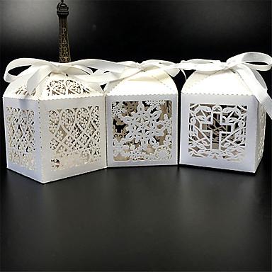 Cubóide Papel Pérola Suportes para Lembrancinhas com Fitas Caixas de Ofertas - 50