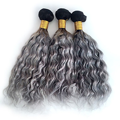 baratos Extensões de Cabelo Natural-3 pacotes Cabelo Brasileiro Encaracolado Onda Profunda Weave Curly 8A Cabelo Humano Âmbar Âmbar Tramas de cabelo humano Extensões de cabelo humano