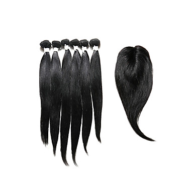 Cabello Hindú Recto Cabello humano Trama del pelo con cierre Cabello humano teje Extensiones de cabello humano