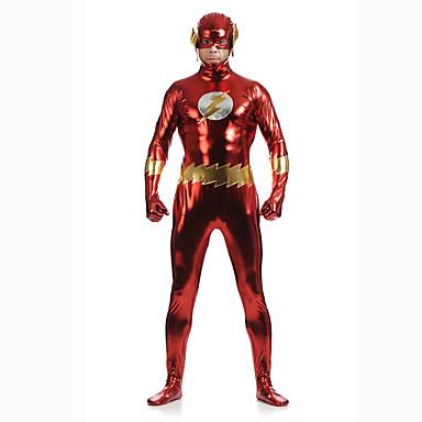 Costumi zentai lucidi Tuta di pelle Costumi corpo intero Costumi da supereroi Per adulto Costumi Cosplay Sesso Rosso Collage Elastene Per uomo Per donna Halloween / Elevata elasticità