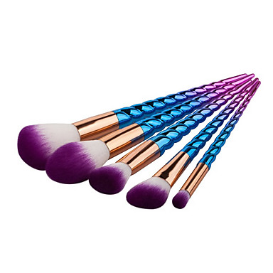 5pçs Pincéis de maquiagem Profissional Conjuntos de pincel / Pincel para Blush / Pincel para Sombra Pêlo Sintético Portátil /