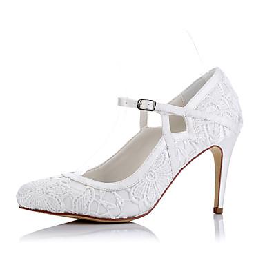 Mulheres Sapatos Tule Primavera / Verão Conforto Saltos Salto Agulha Dedo Fechado Ivory / Casamento / Festas & Noite