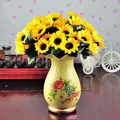 زهور اصطناعية 1 فرع أسلوب بسيط عباد الشمس أزهار الطاولة