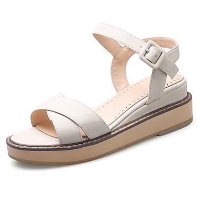 Mujer Zapatos Vellón Primavera Verano Sandalias Tacón Cuña Dedo redondo Hebilla para Casual Oficina y carrera Vestido Negro Beige