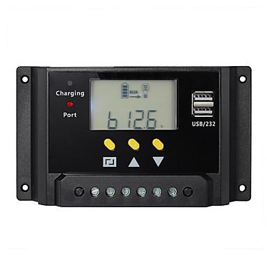 30A PWM Solar Controller Battery Charge Regulator Dual USB 12V 24V LCD