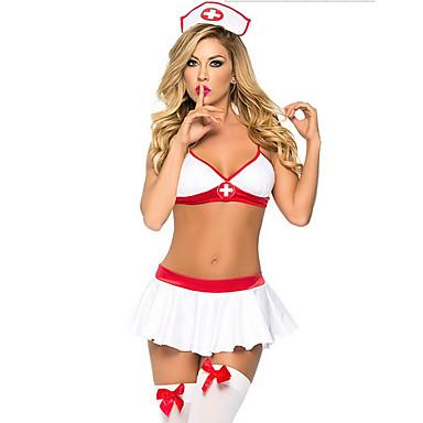 Sykepleiere Cosplay Kostumer Dame Halloween Karneval Oktoberfest Nytt År Festival / høytid Halloween-kostymer Hvit Ensfarget