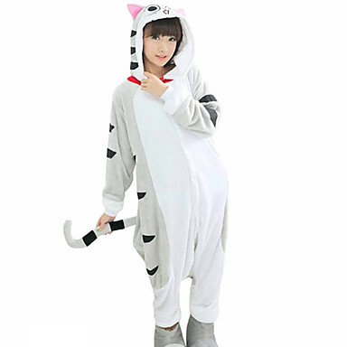 Adults' Cosplay Costume Kigurumi Pajamas Cat Onesie Pajamas Flannel Fabric Gray Cosplay For Men and Women Animal Sleepwear Cartoon Festival / Holiday Costumes