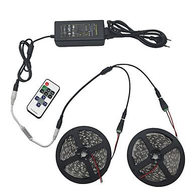 billige LED Strip Lamper-lys sett 10m 5050 smd 600 leds rgb ip44 11 nøkkel infrarød fjernkontroll 12v 6a strømkontakt