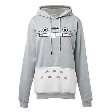 Inspirado por Meu Vizinho Totoro Gato Anime Fantasias de Cosplay Hoodies cosplay Estampado Manga Longa Blusa Mais Acessórios Para Homens