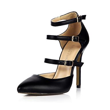 Mulheres Sapatos Couro Ecológico Verão Sapatos clube Saltos Dedo Apontado Preto / Festas & Noite / Social / Festas & Noite