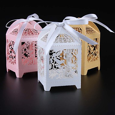 abordables Support de Cadeaux pour Invités-Rectangulaire Papier nacre Titulaire de Faveur avec Ruban Boîtes à cadeaux - 50