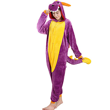 Adults' Cosplay Costume Kigurumi Pajamas Dragon Onesie Pajamas Flannel Toison Purple Cosplay For Men and Women Animal Sleepwear Cartoon Festival / Holiday Costumes