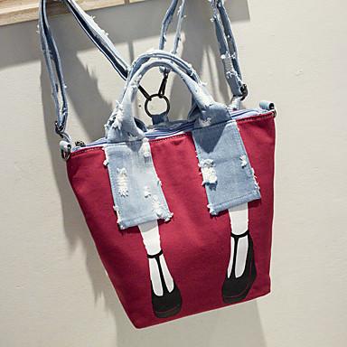 Mulheres Bolsas Tela de pintura mochila Personagem Preto / Cinzento / Vermelho