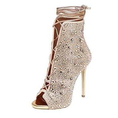 386f5aa2655c Women s Shoes Fleece Summer Gladiator Sandals Stiletto Heel Open Toe  Rhinestone   Lace-