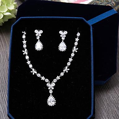 Zircônia cúbica Conjunto de jóias - Zircão Incluir Prata Para Casamento / Festa / Ocasião Especial / Diário / Casual