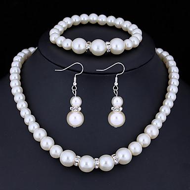 Mulheres Cristal Conjunto de jóias - Imitação de Pérola, Strass Básico Incluir Branco Para Presentes de Natal / Casamento / Festa