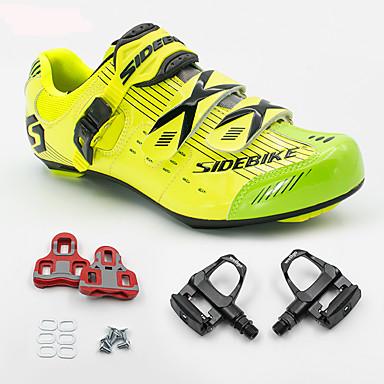 SIDEBIKE Voksne Cykelsko m. pedal og tåjern / Sko til landevejscykling Kulstoffiber Anti-Rystelse, Dæmpning, Ultra Lys (UL) Cykling Grøn / Gul Herre