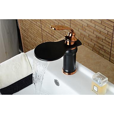 Moderna Conjunto Central Cascata Válvula Cerâmica Monocomando e Uma Abertura Bronze Polido a Óleo, Torneira pia do banheiro