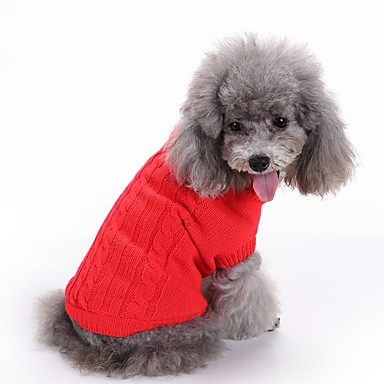 قط كلب البلوزات عيد الميلاد ملابس الكلاب سادة أحمر أخضر أزرق زهري أزرق فاتح الاكريليك وألياف كوستيوم للحيوانات الأليفة للرجال للمرأة جميل