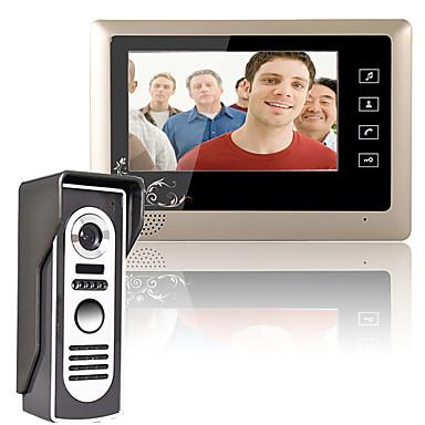 Mountainone 7 polegadas vídeo porteiro telefone campainha sistema de intercomunicação 1-câmera 1 monitor de visão noturna
