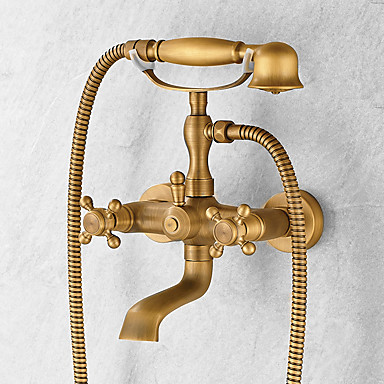 Centerset Handshower Included Ceramic Valve Two Handles Three Holes Antique Brass, Shower Faucet