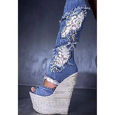 Mulheres Sapatos Tecido Verão / Outono Conforto / Inovador / Botas Cowboy / Country Sandálias Caminhada Salto Plataforma Ponta Redonda