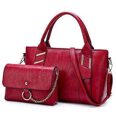 نسائي أكياس PU مجموعات حقيبة 2 قطع محفظة مجموعة لون سادة أسود / أحمر / رمادي