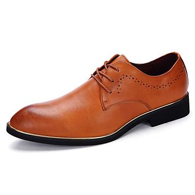 Homens sapatos Couro Primavera / Verão / Outono Conforto Oxfords Caminhada Preto / Cinzento / Amarelo / Casamento / Festas & Noite
