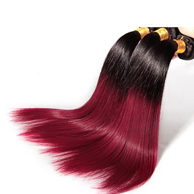 3 шт / много темно-красный волосы Ombre оптовая бразильские волосы, необработанные 100% и мягкие прямо бразильский волос Ombre