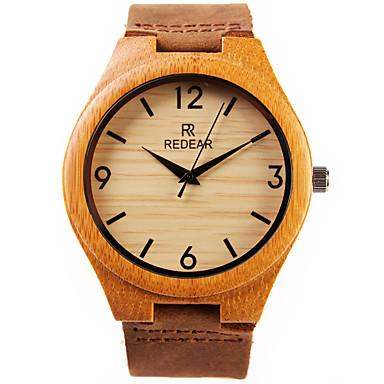 baratos Relógios Homem-Homens Relógio de Pulso Quartzo Quartzo Japonês Couro Marrom Legal de madeira Analógico