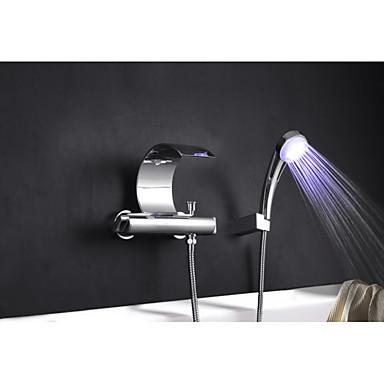 حنفية حوض الاستحمام - شلال يشمل دش اليد رش منسحب الكروم حوض استحمام ودش ثقبان التعامل مع واحد اثنين من الثقوب