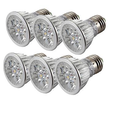 6pcs 4 W 360 lm E26 / E27 Lâmpadas de Foco de LED 4 Contas LED LED de Alta Potência Branco Frio 85-265 V / 6 pçs