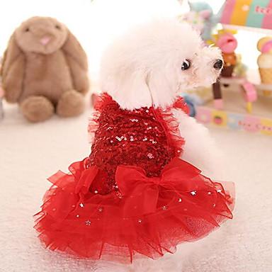 Gato Cachorro Vestidos Roupas para Cães Princesa Vermelho Rosa claro Tecido Ocasiões Especiais Para animais de estimação Fofo