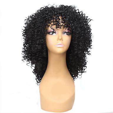 preiswerte Synthetische Perücken ohne Kappe-Synthetische Perücken Locken / Afro Stil Kappenlos Perücke Schwarz Schwarz Synthetische Haare Damen Afro-amerikanische Perücke Schwarz Perücke Mittlerer Länge Natürliche Perücke