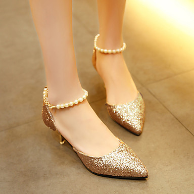 ราคาถูก รองเท้าส้นสูงผู้หญิง-สำหรับผู้หญิง PU ฤดูใบไม้ผลิ / ฤดูร้อน ความสะดวกสบาย รองเท้าส้นสูง ส้น Stiletto Pointed Toe เพิร์ลเทียม สีทอง / สีดำ / สีเงิน / แต่งตัว