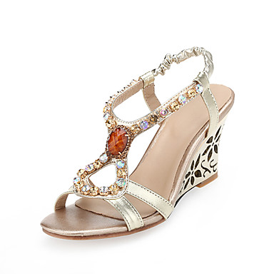 billige Sandaler til damer-Dame Sandaler Wedge-sandaler Kile Hæl Rund Tå Bjergkrystal PU Slingback Sko Sommer / Efterår Guld / Fest / aften / Fest / aften / Wedge Heels